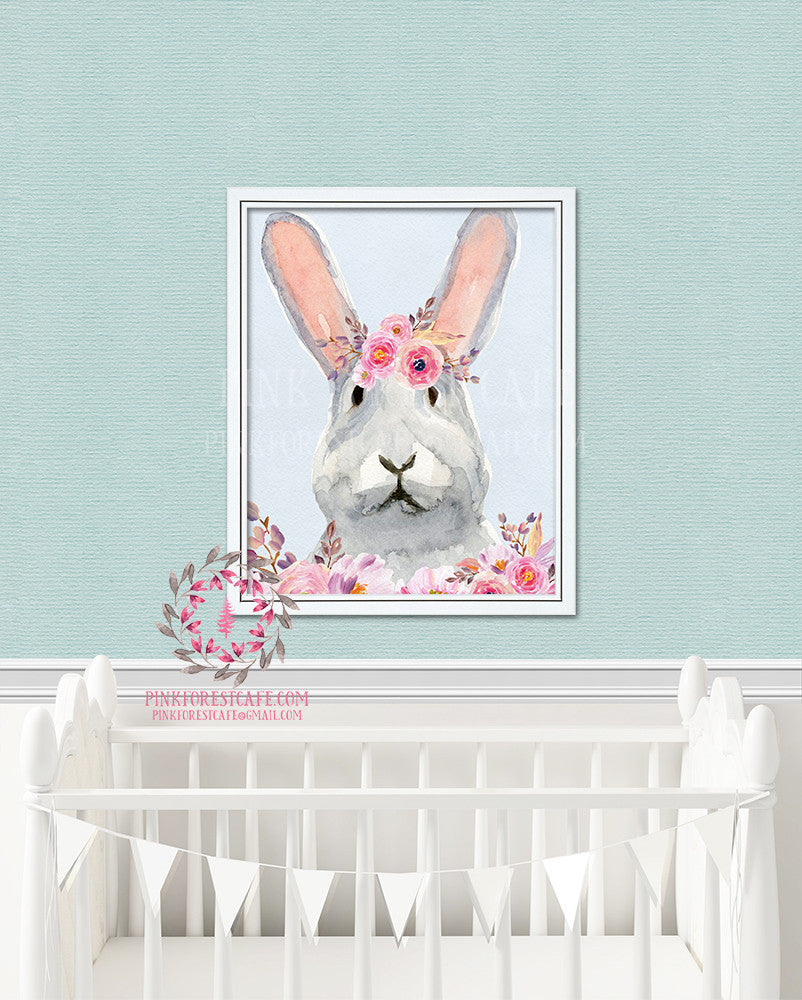 Boho Bunny Rabbit Watercolor Woodland Printable Wall Art Nursery Home Decor Print