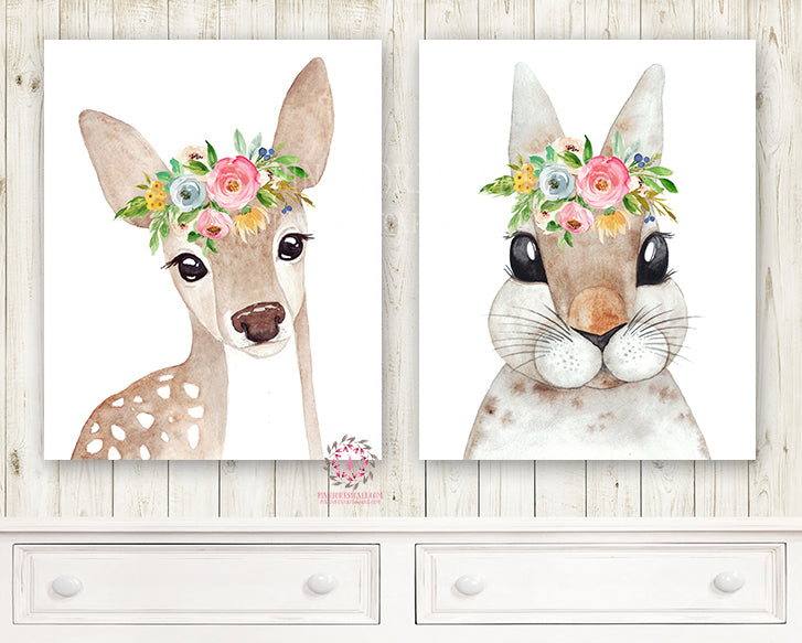 2 Boho Deer Bunny Rabbit Woodland Wall Art Print Nursery Garden Floral Watercolor Baby Girl Printable Room Decor
