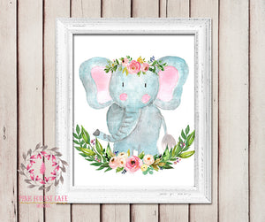 Boho Elephant Nursery Wall Art Print Decor Woodland Boho Printable Prints Bohemian Baby Girl Room Kids Bedroom