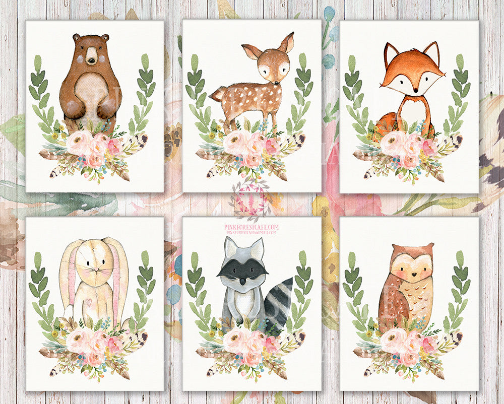 SALE 6 Bear Deer Fox Bunny Rabbit Feather Wall Art Print Raccoon Owl Woodland Boho Bohemian Floral Nursery Baby Girl Room Set Lot Prints Printable Home Decor