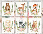 6 Bear Deer Fox Bunny Rabbit Feather Wall Art Print Raccoon Owl Woodland Boho Bohemian Floral Nursery Baby Girl Room Set Lot Prints Printable Home Decor