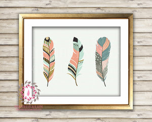 Feather Tribal Boho Woodland Printable Wall Art Nursery Decor Print