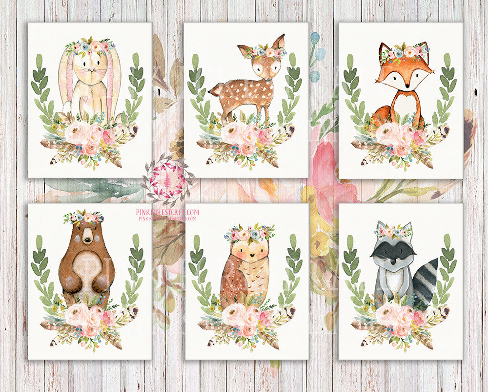 SALE 6 Bunny Bear Deer Wall Art Print Fox Woodland Boho Bohemian Feather Floral Nursery Baby Girl Room Lot Set 6 Prints Printable Decor
