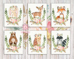 Bunny Bear Deer Wall Art Print Fox Woodland Boho Bohemian Feather Floral Nursery Baby Girl Room Lot Set 6 Prints Printable Decor