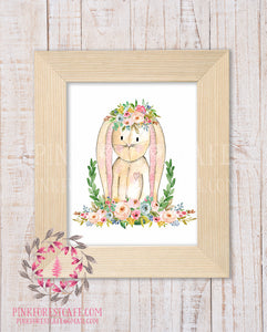 Bunny Rabbit Woodland Boho Bohemian Garden Floral Nursery Baby Girl Room Playroom Prints Printable Print Wall Art Home Decor