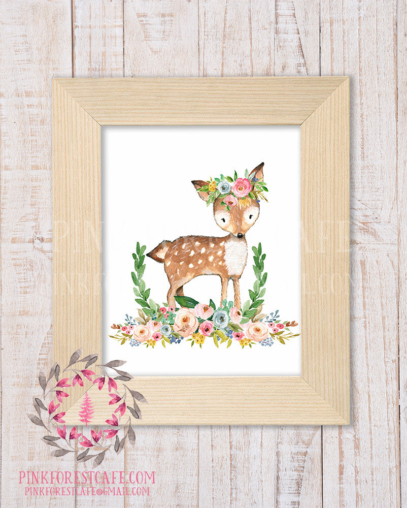 Deer Woodland Boho Bohemian Garden Floral Nursery Baby Girl Room Playroom Prints Printable Print Wall Art Home Decor