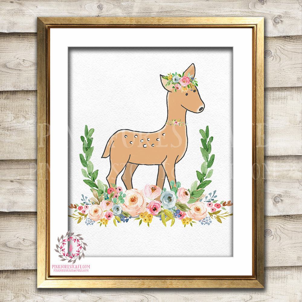 Boho Bohemian Deer Woodland Printable Wall Art Print Garden Floral Nursery Baby Girl Room Decor