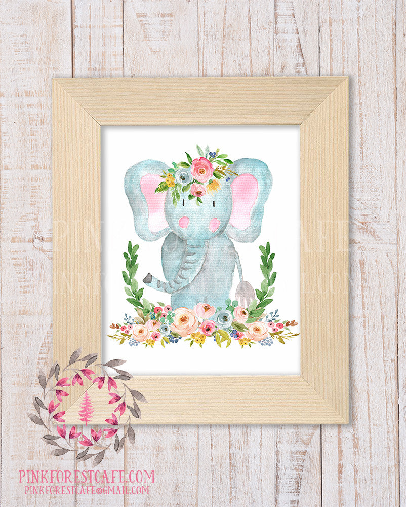 Elephant Zoo Boho Wall Art Print Bohemian Garden Floral Nursery Baby Girl Room Playroom Printable Decor