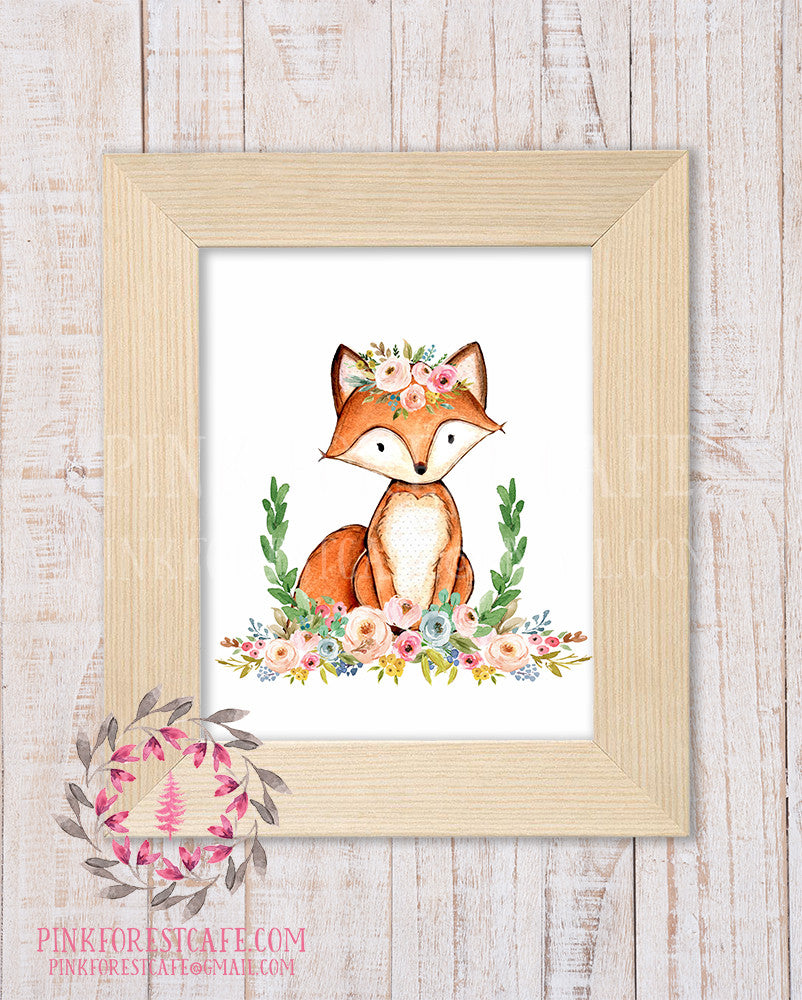 Baby Nursery Kids Room Wall Art Prints Printable Boho Woodland Decor Page 8 Pink Forest Cafe