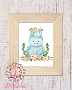 Hippo Zoo Boho Bohemian Garden Floral Nursery Baby Girl Room Playroom Prints Printable Print Wall Art Home Decor