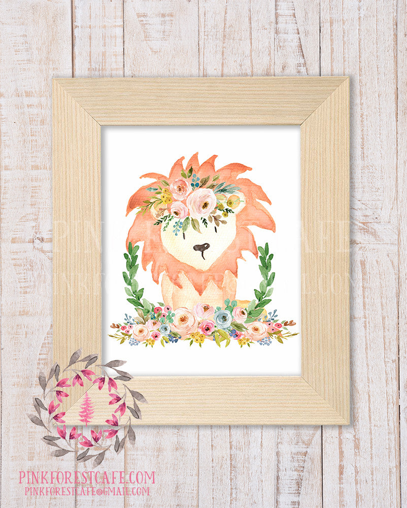 Lion Zoo Boho Bohemian Garden Floral Nursery Baby Girl Room Playroom Prints Printable Print Wall Art Home Decor