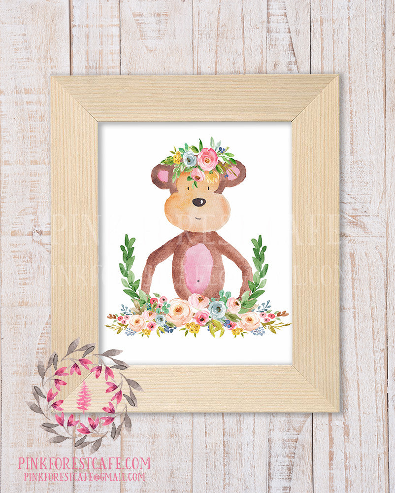 Monkey Zoo Boho Bohemian Garden Floral Nursery Baby Girl Room Playroom Prints Printable Print Wall Art Home Decor