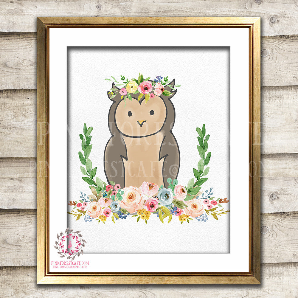 Boho Bohemian Owl Woodland Printable Wall Art Print Garden Floral Nursery Baby Girl Room Decor