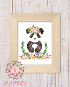 Panda Bear Zoo Animal Boho Wall Art Print Bohemian Garden Floral Nursery Baby Girl Room Playroom Prints Printable Home Decor