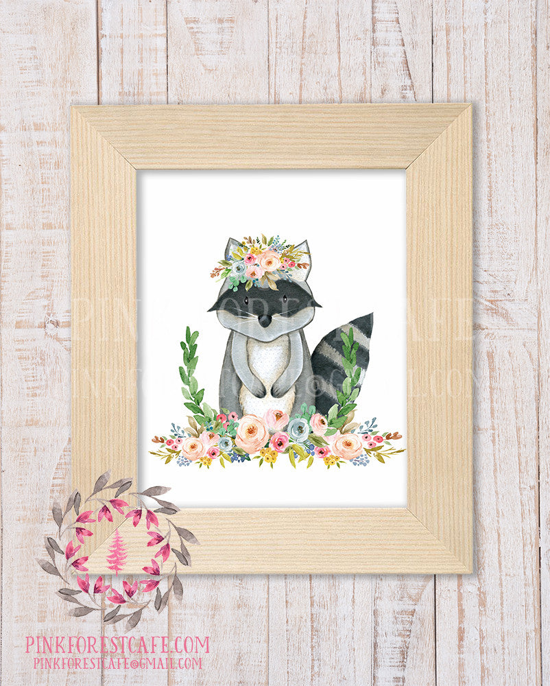 Raccoon Woodland Boho Bohemian Garden Floral Nursery Baby Girl Room Playroom Prints Printable Print Wall Art Home Decor