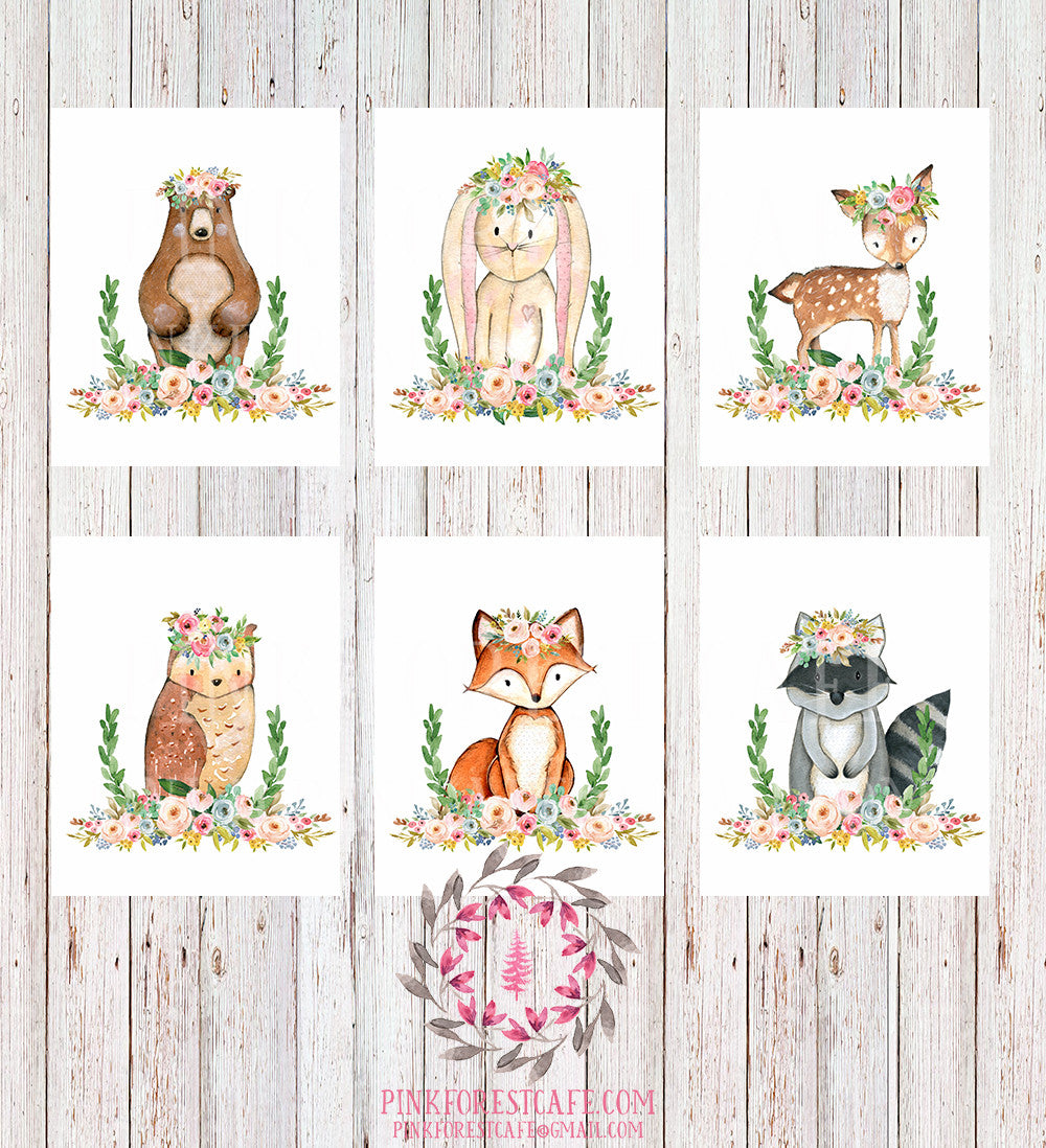 SALE Bear Bunny Deer Fox Woodland Boho Wall Art Print Bohemian Garden Floral Nursery Baby Girl Room Playroom Set Lot 6 Prints Printable Decor