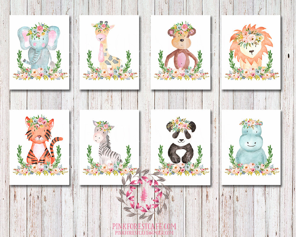 Monkey Zebra Giraffe Lion Elephant 8 Zoo Boho Bohemian Garden Floral Nursery Baby Girl Room Playroom Set Lot Prints Printable Print Wall Art Home Decor