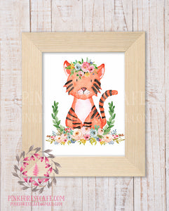 Tiger Zoo Animal Boho Bohemian Garden Floral Nursery Baby Girl Room Playroom Prints Printable Print Wall Art Home Decor