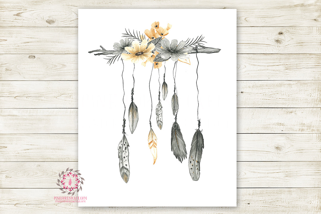 Boho Nursery Print Wall Art Watercolor Floral Feather Tribal Woodland Rustic Baby Girl Room Printable Bohemian Decor