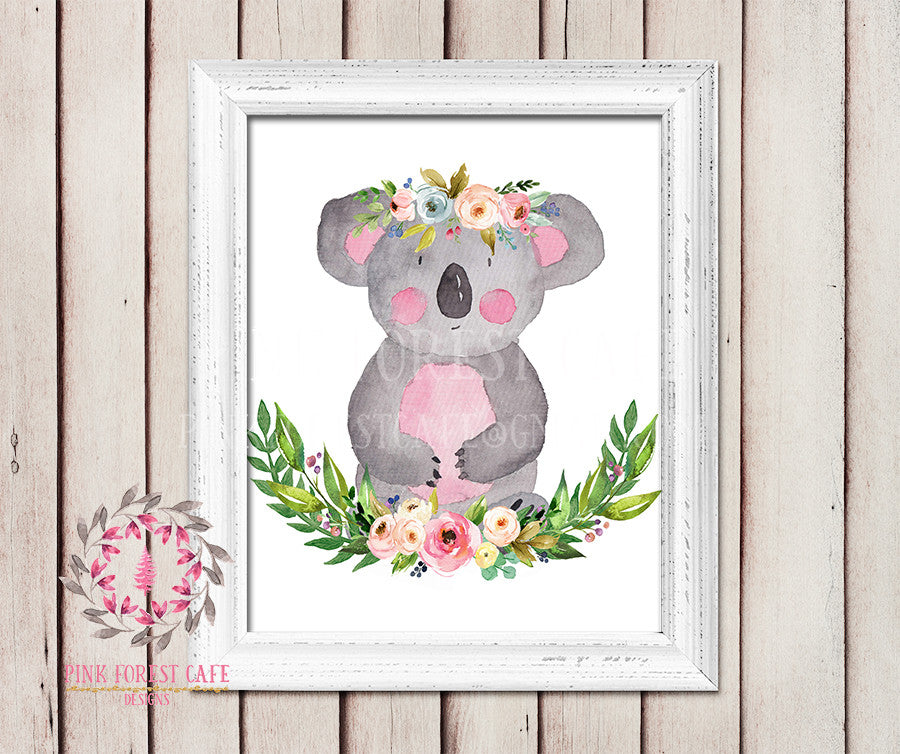 Koala Bear Boho Garden ZOO Safari Nursery Kids Baby Girl Room Playroom Print Gift Printable Wall Poster Sign Art Home Decor