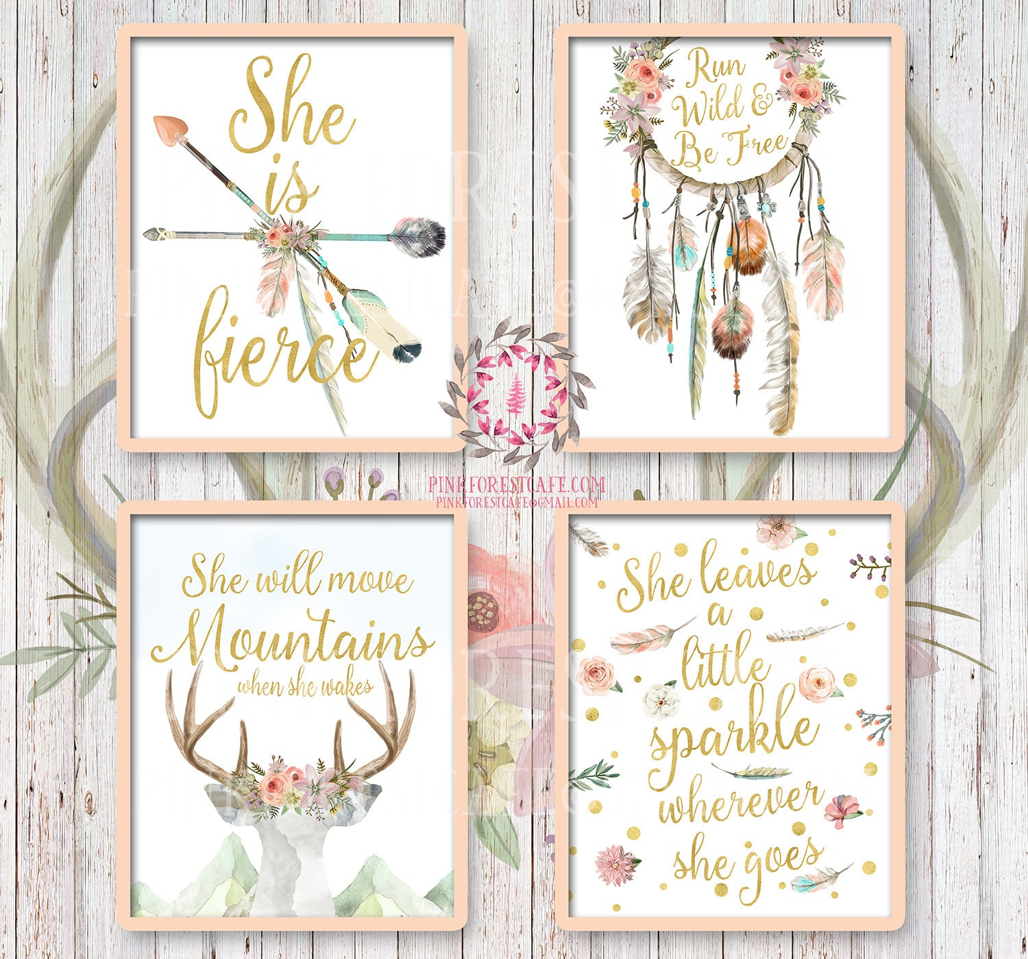 She is Fierce She Will Move Mountains Wall Art Print Boho Bohemian Watercolor Gold Floral Nursery  sc 1 st  Pink Forest Cafe & She is Fierce She Will Move Mountains Wall Art Print Boho Bohemian ...