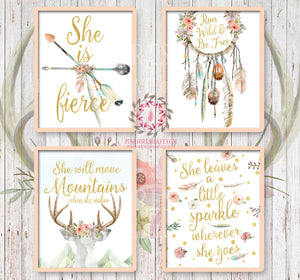 She is Fierce She Will Move Mountains Wall Art Print Boho Bohemian Watercolor Gold Floral Nursery Baby Girl Room Set Lot 4 Prints Printable Decor