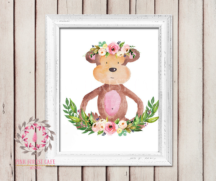 Monkey Boho Garden ZOO Safari Nursery Kids Baby Girl Room Playroom Print Gift Printable Wall Poster Sign Art Home Decor