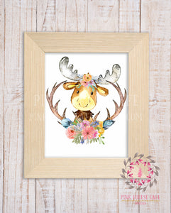 Boho Moose Woodland Printable Print Wall Art Watercolor Baby Nursery Decor