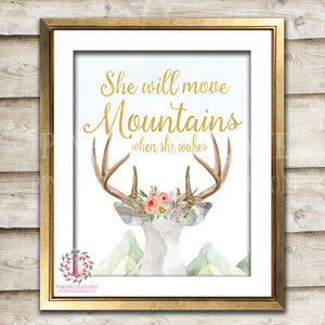 She Will Move Mountains When She Wakes Wall Art Print Blush Deer Boho Bohemian Watercolor Gold Floral Nursery Baby Girl Room Printable Decor