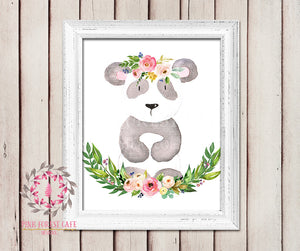 Panda Bear Boho Garden ZOO Safari Nursery Kids Baby Girl Room Playroom Print Gift Printable Wall Poster Sign Art Home Decor