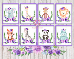 50% off 8 Purple ZOO Monkey Giraffe Lion Elephant Wall Art Print Tiger Panda Bear Zebra Hippo Prints Safari Boho Bohemian Floral Nursery Kids Baby Room Set Printable Decor