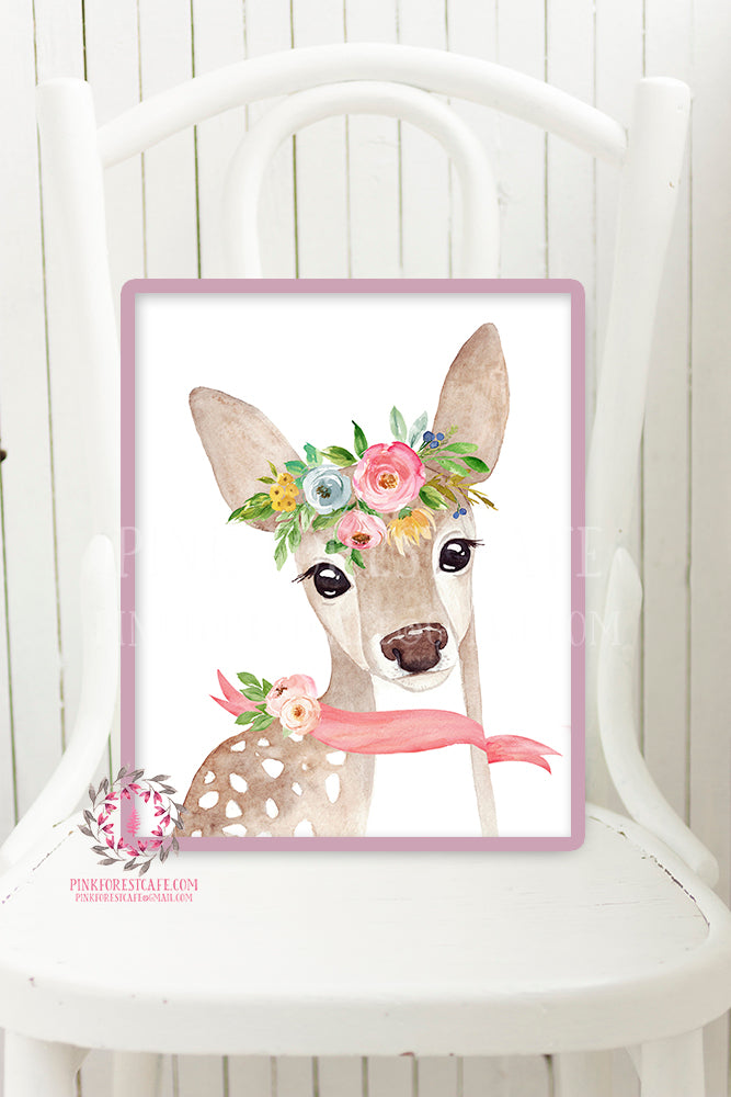 Boho Deer Woodland Nursery Wall Art Print Floral Baby Girl Room Watercolor Printable Decor