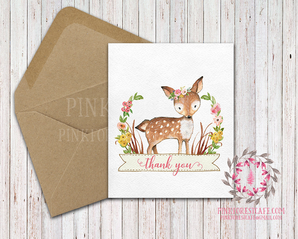 Boho Woodland Deer Fawn Baby Bridal Shower Party Thank You Card Note Floral Printable