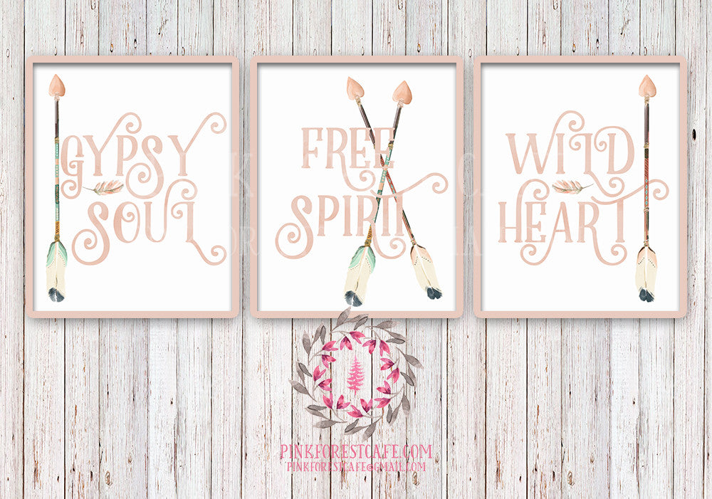 Gypsy Soul Free Spirit Wild Heart Set Of 3 Boho Blush Tribal Arrow
