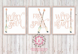 Gypsy Soul Free Spirit Wild Heart Set of 3 Boho Blush Tribal Arrow Nursery Baby Girl Room Printable Print Wall Decor
