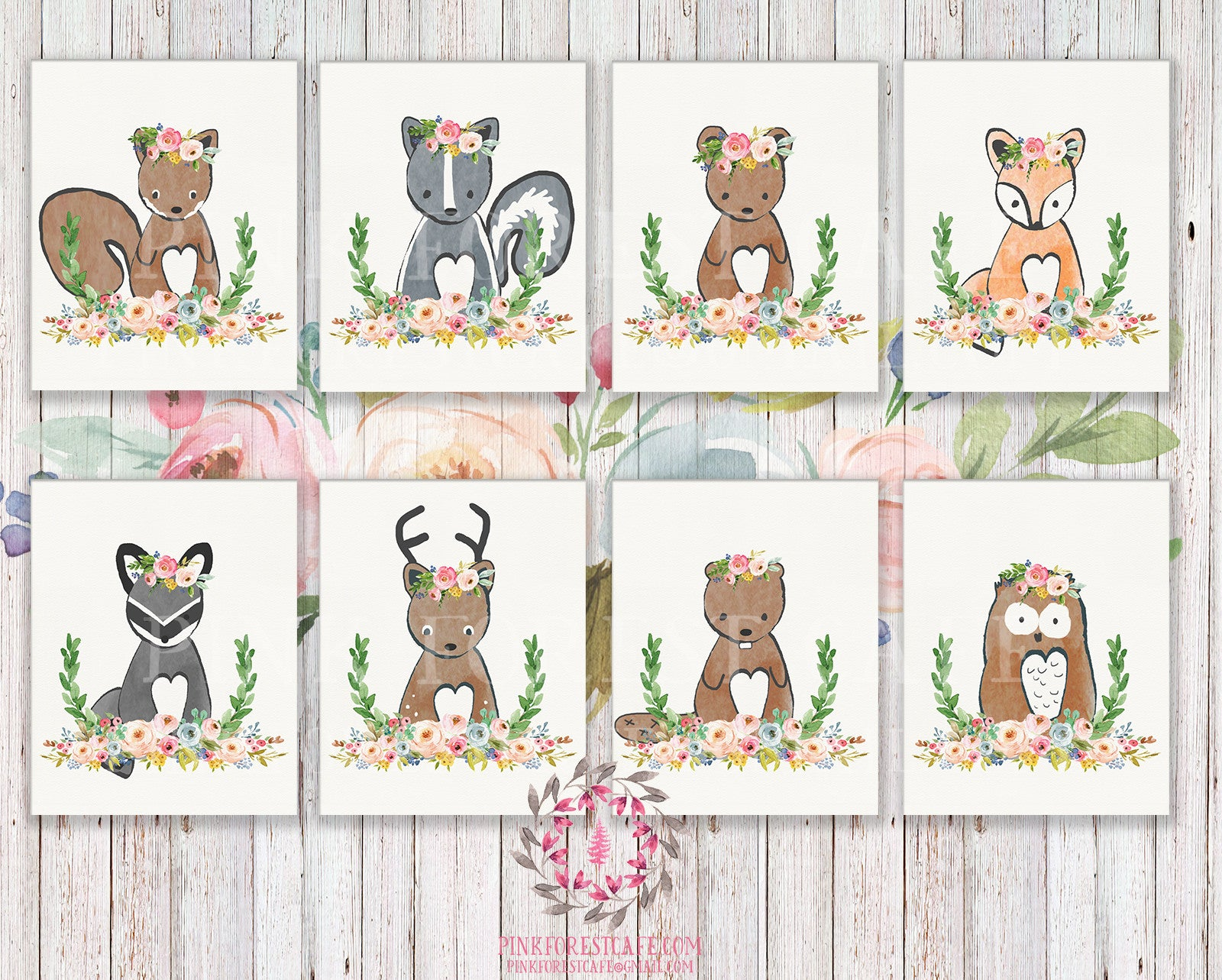 Set Lot of 8 Woodland Boho Bohemian Floral Nursery Baby Girl Room Prints Printable Print Wall Art Decor