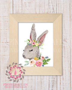 Bunny Rabbit Woodland Boho Nursery Decor Baby Girl Wall Art Watercolor Floral Printable Print
