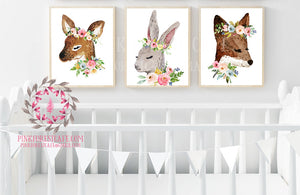 Lot 3 Bunny Rabbit Fox Deer Woodland Boho Nursery Decor Baby Girl Wall Art Watercolor Floral Printable Print