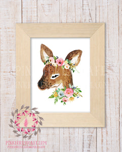 Deer Woodland Boho Nursery Decor Baby Girl Wall Art Watercolor Floral Printable Print