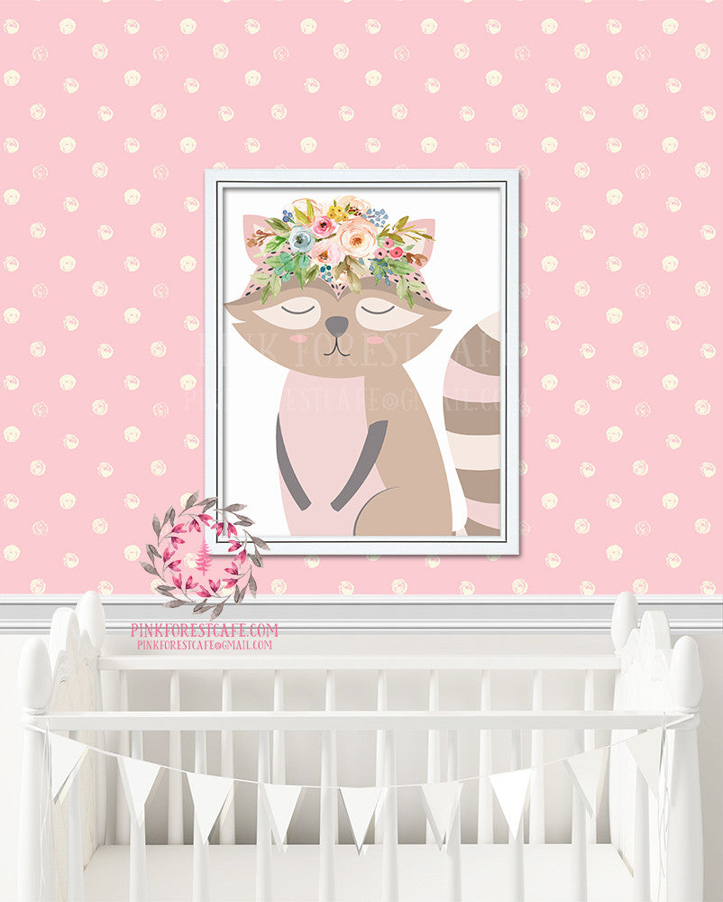 Raccoon Sleeping Boho Woodland Nursery Decor Watercolor Wall Art Printable Print