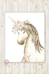 Boho Blush Unicorn Wall Art Print Baby Girl Nursery Ethereal Fantasy Watercolor Room Printable Decor