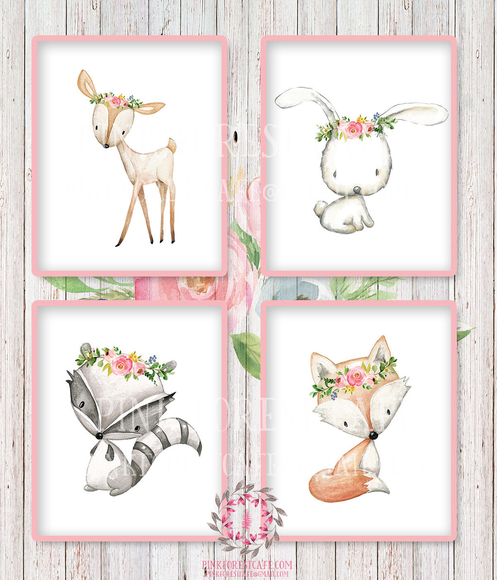 SALE 4 Deer Fox Bunny Rabbit Raccoon Wall Art Print Woodland Boho Bohemian Floral Nursery Baby Girl Room Set Lot Prints Printable Home Decor