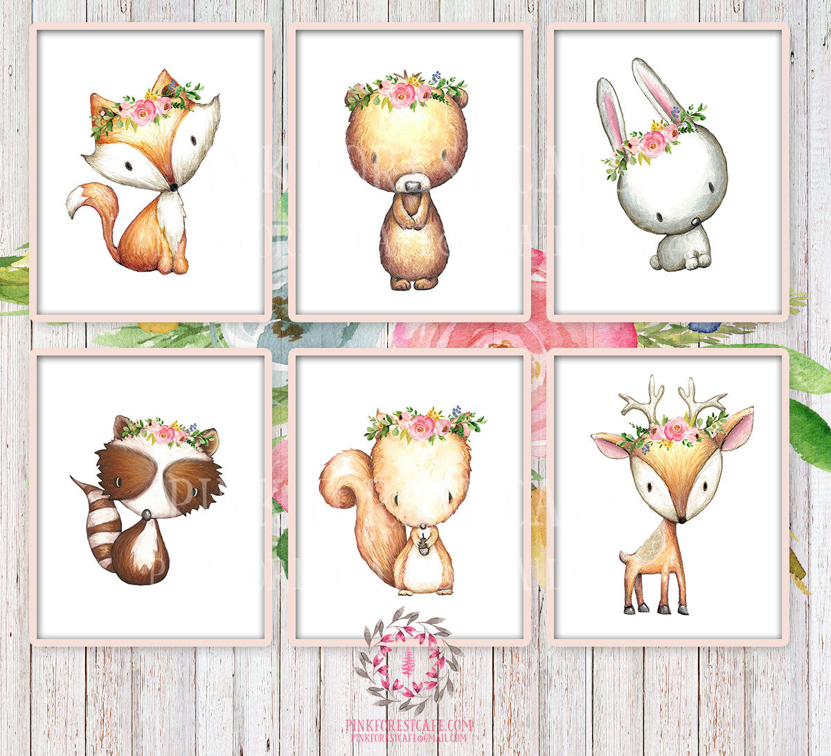 6 Deer Fox Bunny Rabbit Raccoon Bear Squirrel Woodland Wall Art Print Pink Forest Cafe