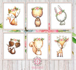 6 Deer Fox Bunny Rabbit Raccoon Bear Squirrel Woodland Wall Art Print Boho Bohemian Floral Nursery Baby Girl Room Set Lot Prints Printable Home Decor