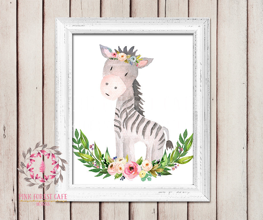 Zebra Boho Garden ZOO Safari Nursery Kids Baby Girl Room Playroom Print Gift Printable Wall Poster Sign Art Home Decor