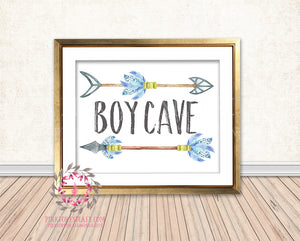 Boy Cave Wall Art Print Arrows Tribal Woodland Nursery Arrow Baby Room Watercolor Printable Decor