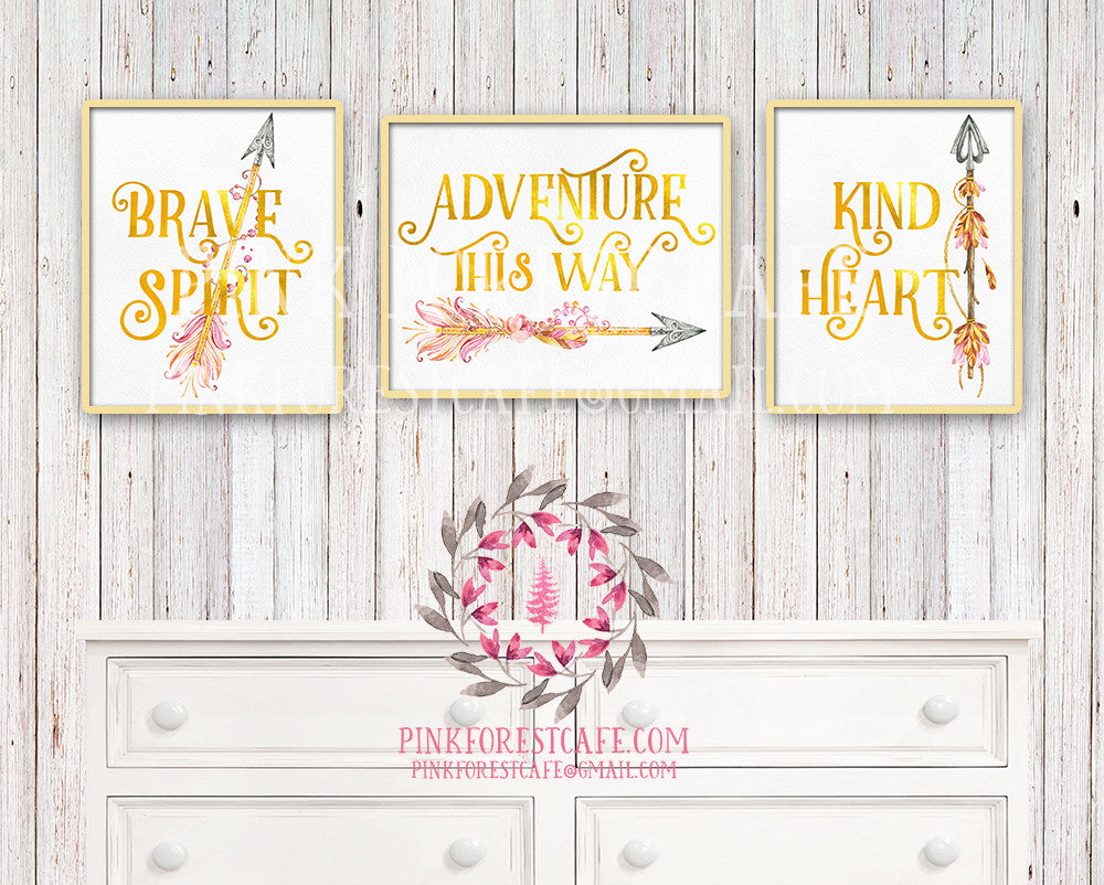 Kind Heart Brave Spirit Adventure This Way Set of 3 Gold Foil Boho Tribal Arrow Nursery Baby Girl Room Printable Print Wall Decor