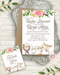 Woodland Deer Bear Bunny Fox Invite Invitation Baby Shower Thank You Card Boho Floral Watercolor Birth Announcement Printable