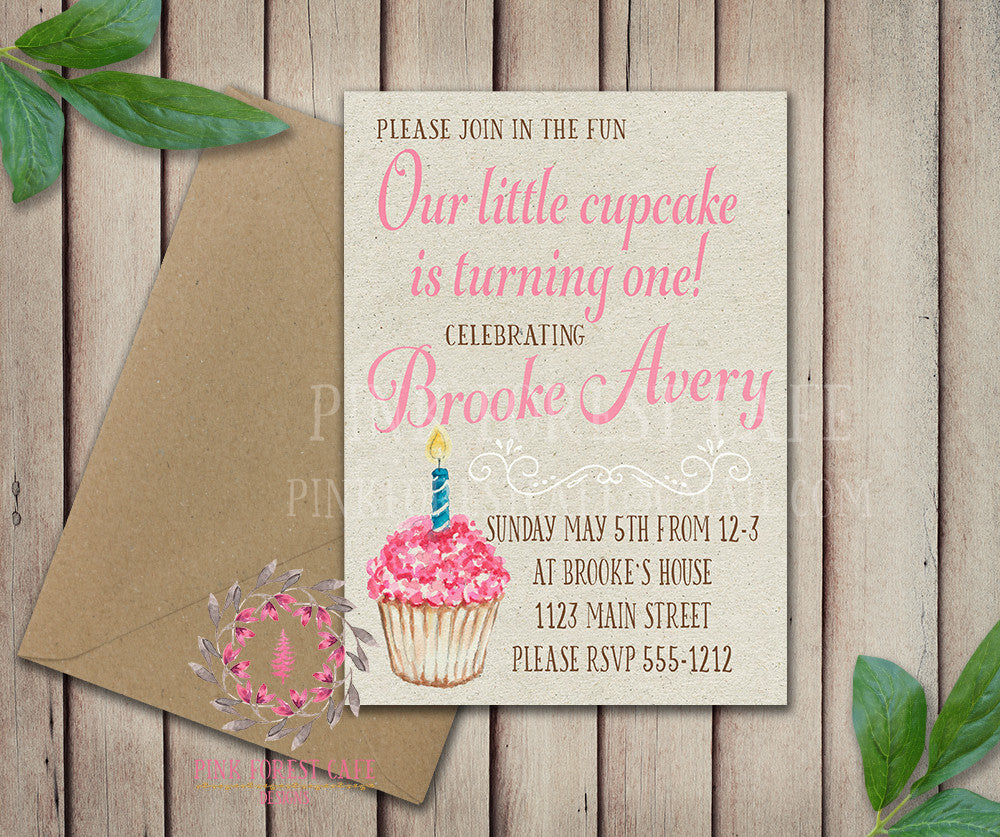 Baby Girl 1st Pink Frosting Candle Cupcake Birthday Party Invitation Announcement Invite Watercolor Printable Art Stationery Card