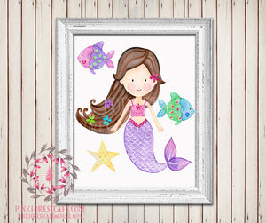 Mermaid Nautical Baby Girl Room Printable Wall Art Ocean Fish Nursery Home Decor